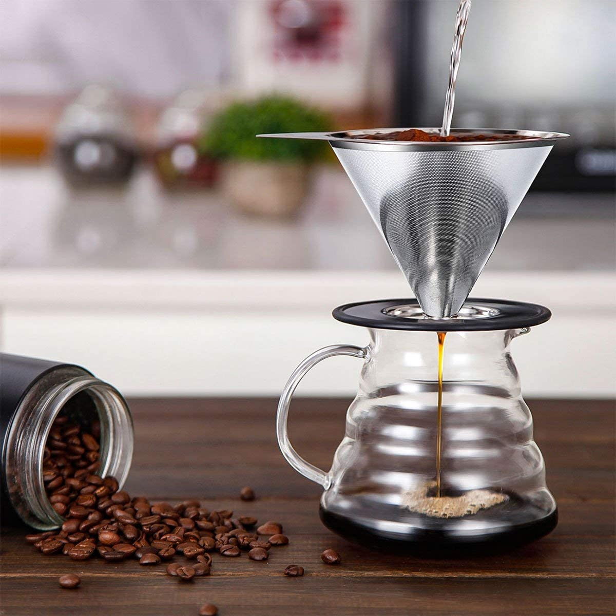 Pour Over Coffee Dripper Stainless Steel LHS Slow Drip Coffee Filter Metal Cone Paperless Reusable Single Cup Coffee Maker 1-2 Cup With Non-slip Cup Stand and Cleaning Brush