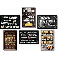 Kit Com 6 Placas Em Mdf - Frases De Boteco - R+ Adesivos