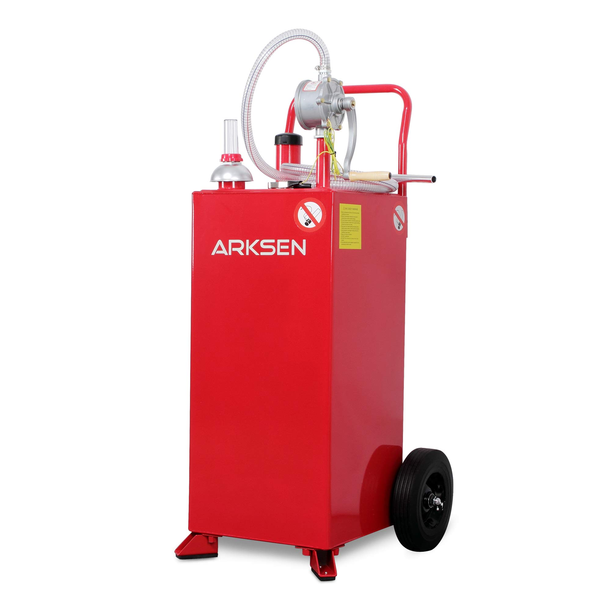 Arksen 30 Gallon Portable Gas Caddy Fuel Storage Tank Large Gasoline Diesel Can Hand Siphon Pump Rolling Pneumatic Wheels Boat ATV Car Motorcycle by ARKSEN