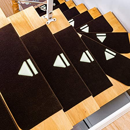 Lili Peldaños, Sistema de iluminación de Escalera Paso Mats, Antideslizante Escalera Mats, Apto para escaleras, decoración casera (5 Piezas),Dark Brown: Amazon.es: Hogar