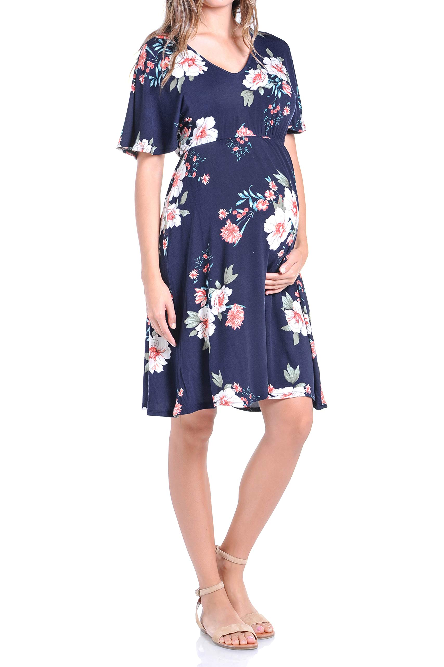 Beachcoco Women's Maternity Comfortable Babydoll Kimono Sleeve Flower Printed Dress (M, Navy/Ivory Flower)