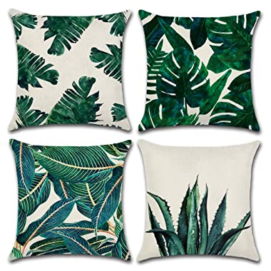 MIULEE Pack of 4 Tropical Leaves Series Throw Pillow Cover Decorative Cotton Linen Burlap Square Outdoor Cushion Cover Pillow Case for Car Sofa Bed Couch 18 x 18 Inch