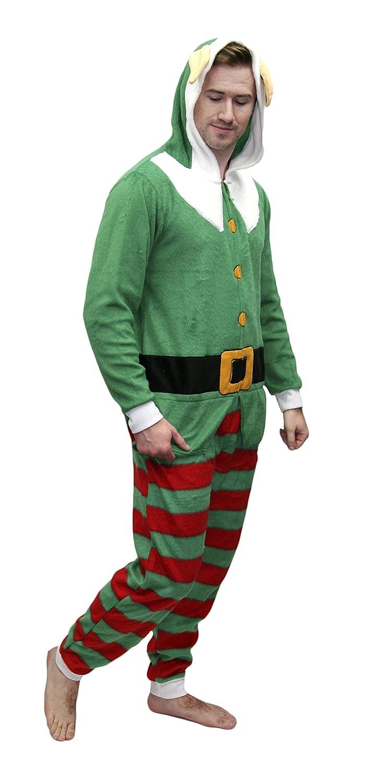 702d792315 Secret Santa Adult Mens Womens Christmas Holiday Elf Onesie Pajama larger  image