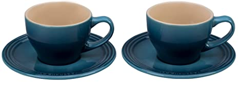 Le Creuset of America PG8000-056M Le Creuset Stoneware Set of 2 Cappuccino  Cups and Saucers - Marine 7 oz