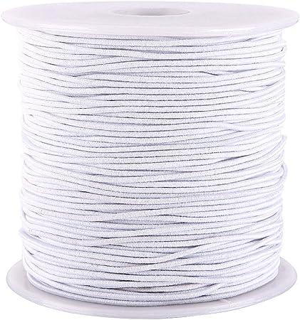 WXLAA 1.2mm 100M Filo Elastico per Braccialetti Corda Elastica Cordoncino per Perline Collana Artigianato Bianco