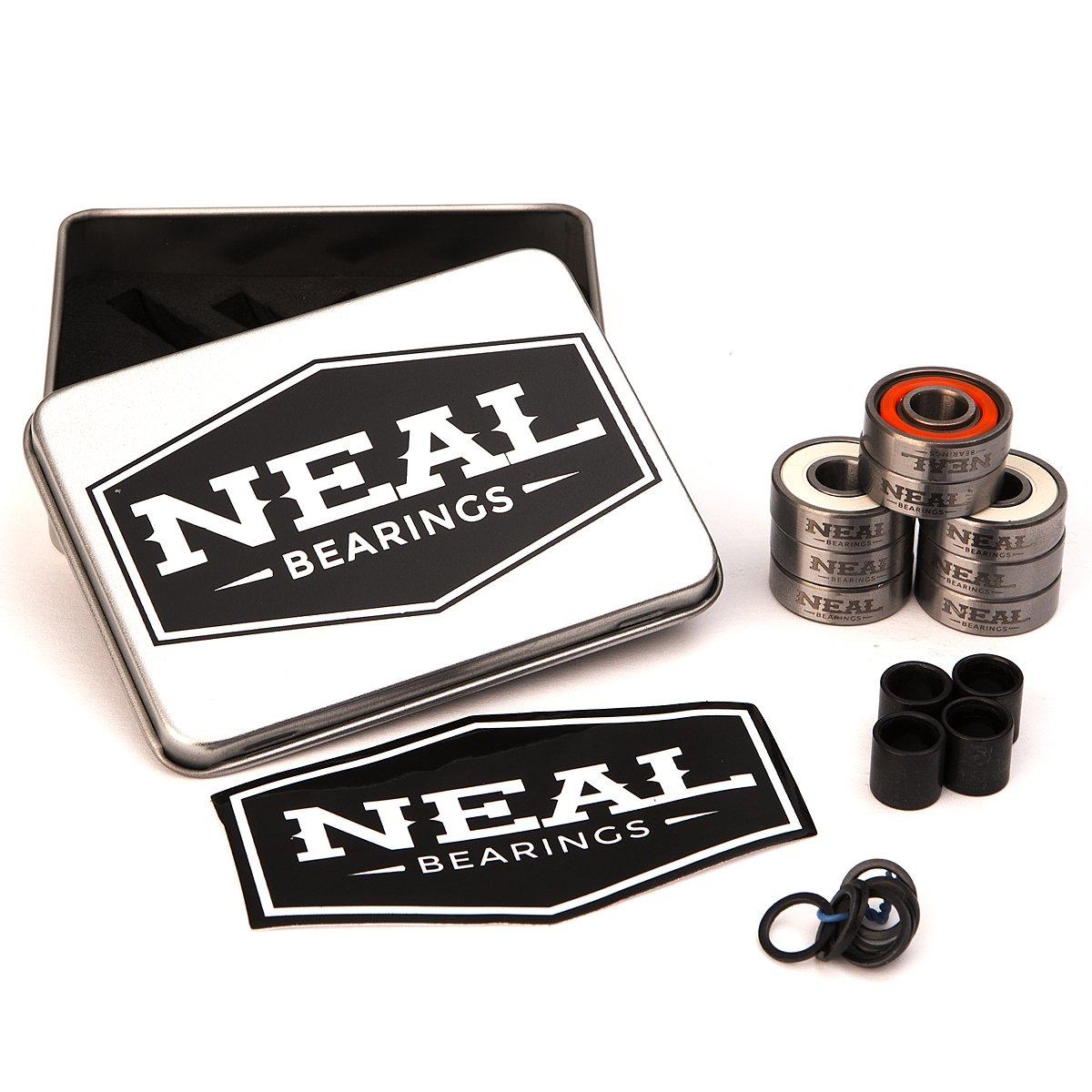 Neal Precision Hurricane Skate Bearings 608rs - Skateboard - Longboard - Inline - Scooter. The Best Bearings Guaranteed. (Orange/Swiss, 8 Pcs) by Neal Bearings