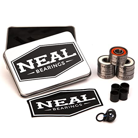 Neal Precision Hurricane Skate Bearings 608rs - Skateboard - Longboard - Inline - Scooter. The Best Bearings Guaranteed. (Orange/Swiss, 8 Pcs)