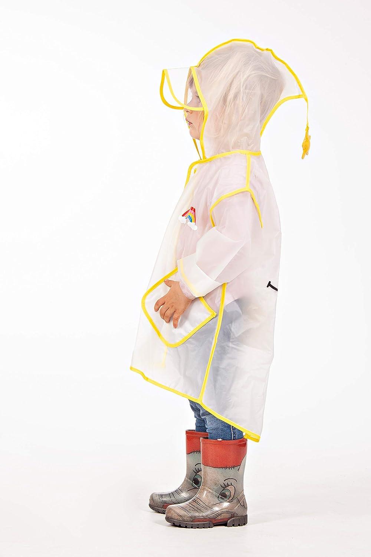 Poncho impermeabile adatto per bambini di et/à compresa tra 3 e 6 anni Design colorato per ragazzi e ragazze.
