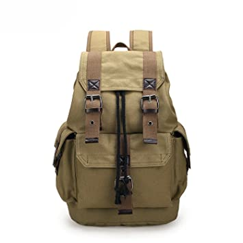 Amazon.com: Marvin Cook mens backpack vintage canvas backpack school bag travel bags large capacity backpack Black coffee khaki: Computers & Accessories
