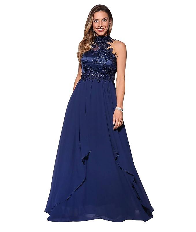 Krisp Womens Formal Elegant Lace Halterneck Backless Maxi ...