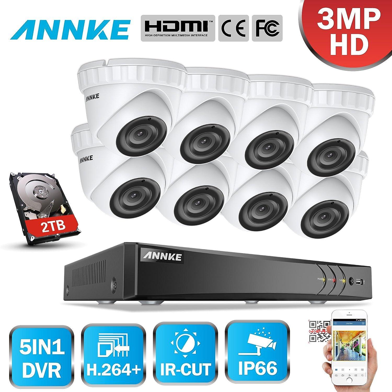 ANNKE 8CH 3MP DVR Kit videovigilancia Sistema de 8 Cámaras de Seguridad 1920*1536P Metal con 2TB Disco Duro Acceso Remoto Visión Nocturna 24 IR Leds IP66 ...