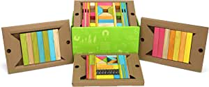 90 Piece Tegu Classroom Magnetic Wooden Block Set, Tints