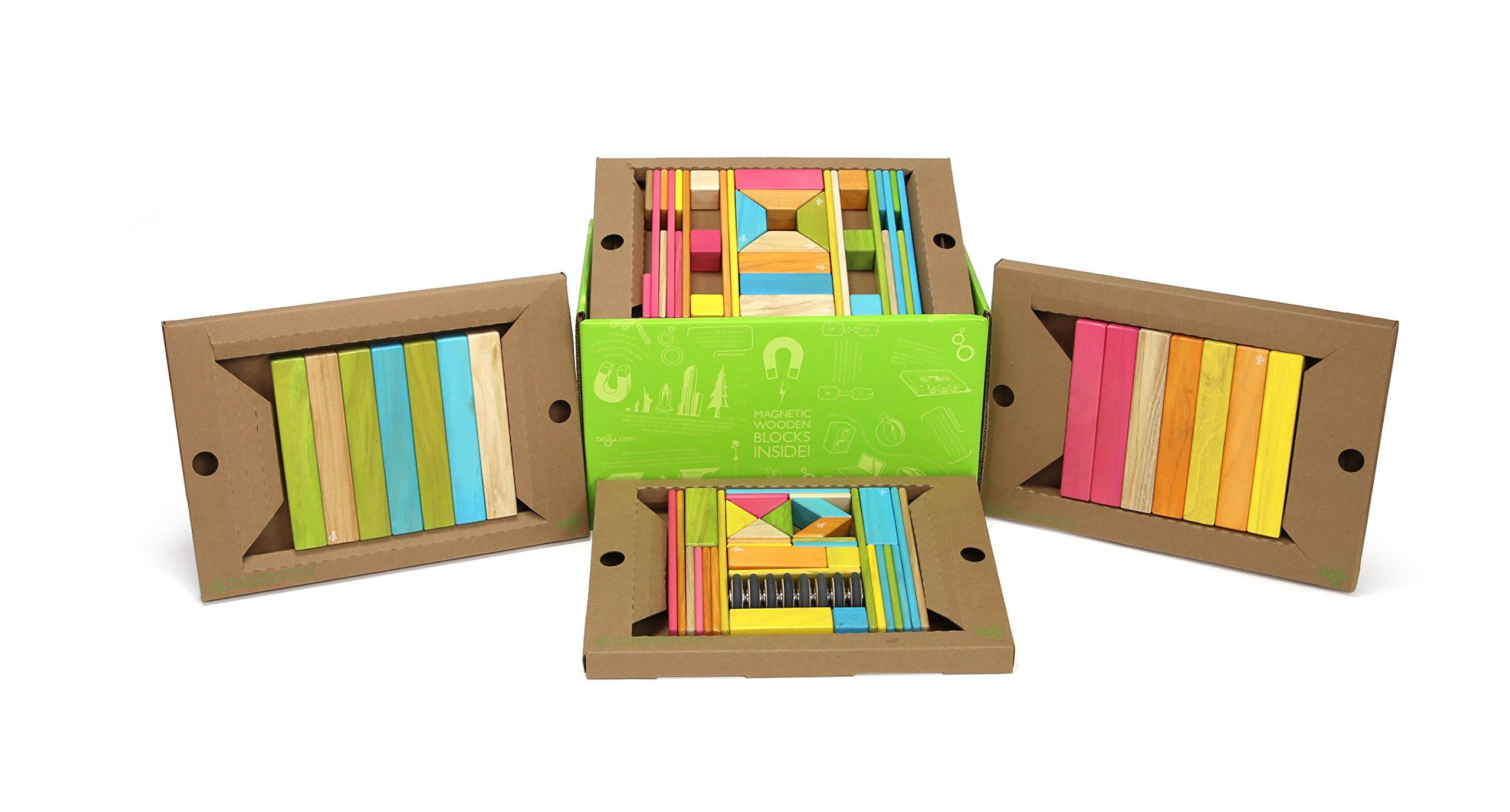 90 Piece Tegu Classroom Magnetic Wooden Block Set, Tints by Tegu (Image #1)