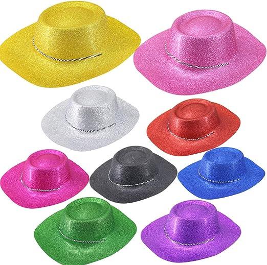 12 Piezas Brillo Sombrero de Cowboy Vaquero Unisex Estilo Gángster ...