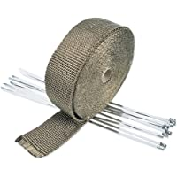 Titanium Exhaust Heat Wrap Roll Kit Insulating Tape Fiberglass Heat Shield Tapes with 10 PCS Stainless Locking Ties for Motorcycle Manifold Thermal Protection 5cm x 10m Bloomeet 2 x 32.8 Ft