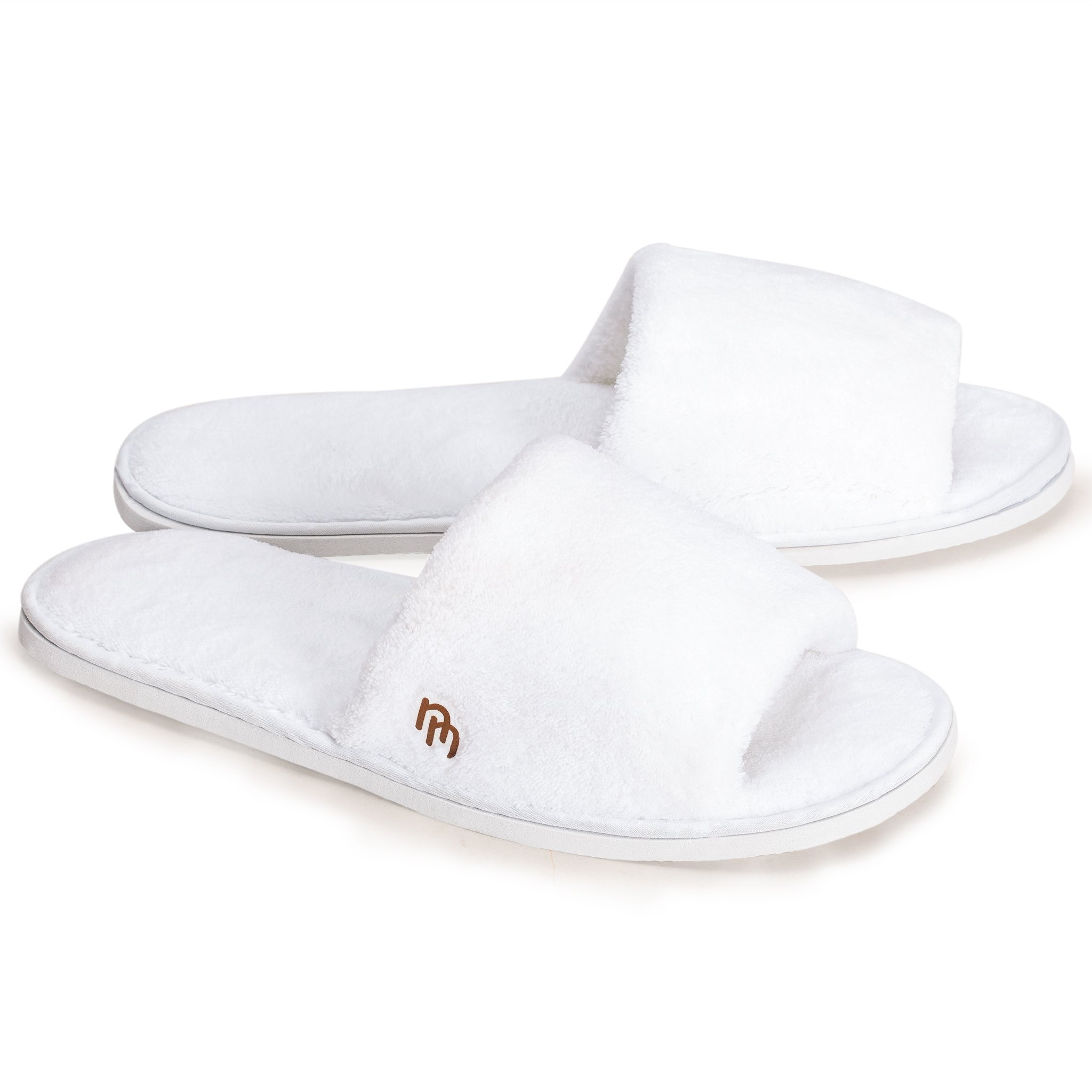 Nicely Neat 6pk White Open Toe Coral Fleece House and Travel Slipper (Large)