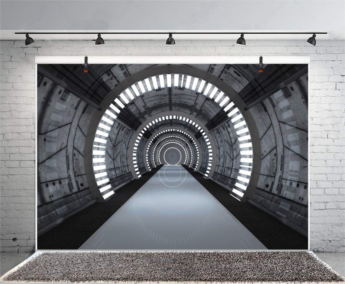Time Tunnel Backdrop Metallic Hallway Backdrop 10x6.5ft Vinyl Photography Backgroud Imagination Space Backdrop Spaceship Interior Backgroud Boys Birthday Photo Backdrop Children Party