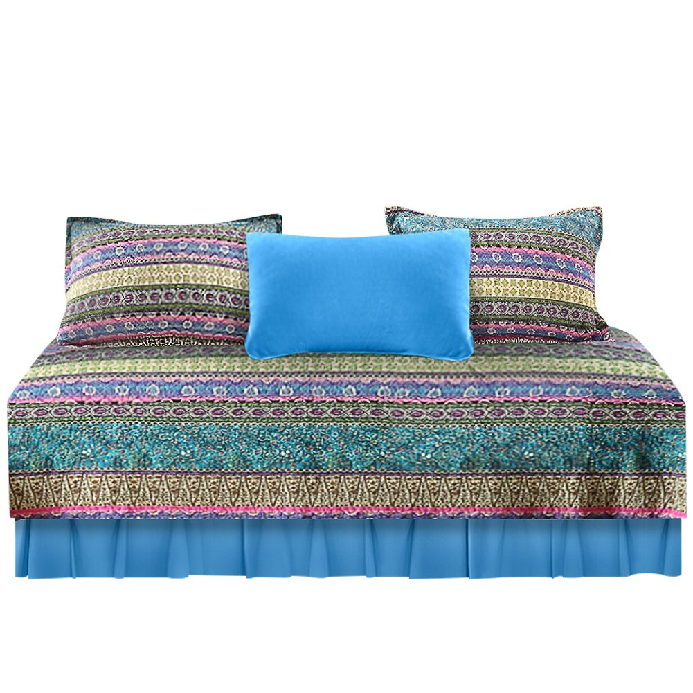 NEWLAKE 5-Piece Quilted Daybed Cover Set, Striped Jacquard Style