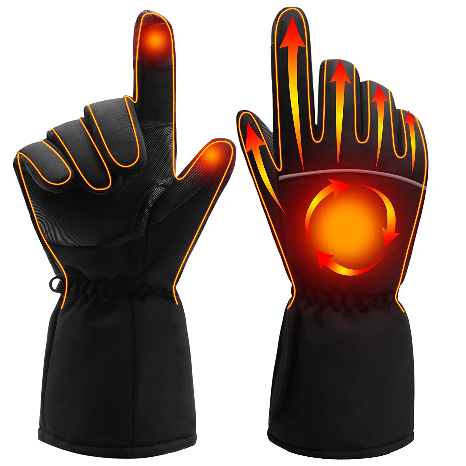 SPRING Electric Heated Gloves,Portable Battery Heating Thermal Gloves,Waterproof Touchscreen Thermal Gloves for Cycling,Motorcycle,Hiking,Snowboarding