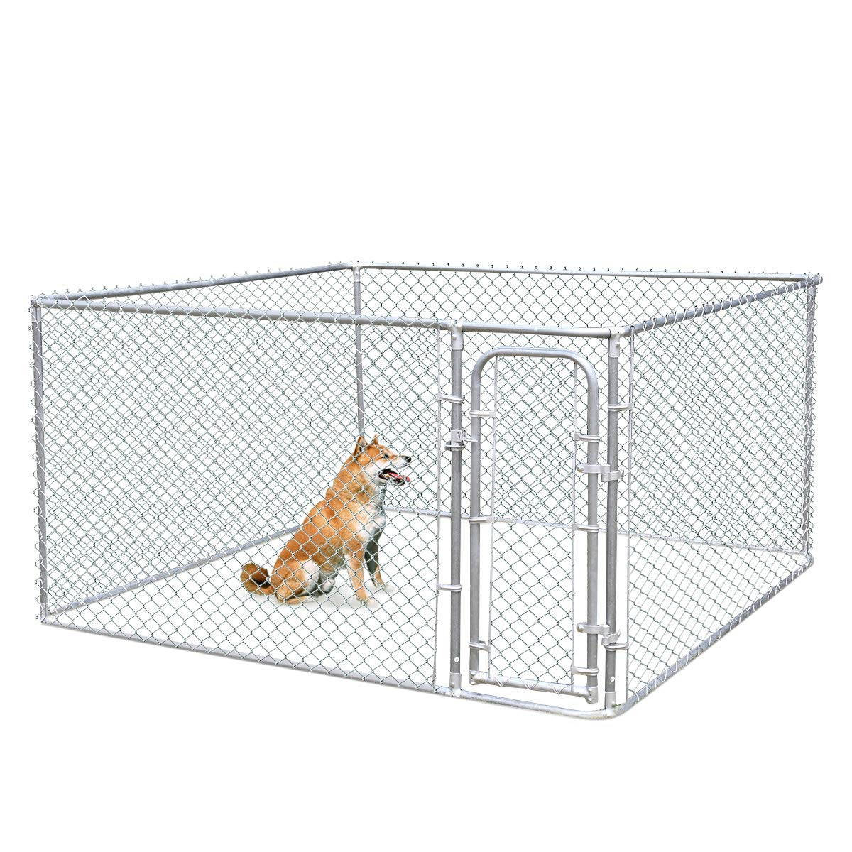 JAXPETY Foldable Metal Pet Exercise and Playpen 7.5 x 7.5 Ft Heavy Duty Outdoor Chain Link Dog Kennel Enclosure w/Door by JAXPETY