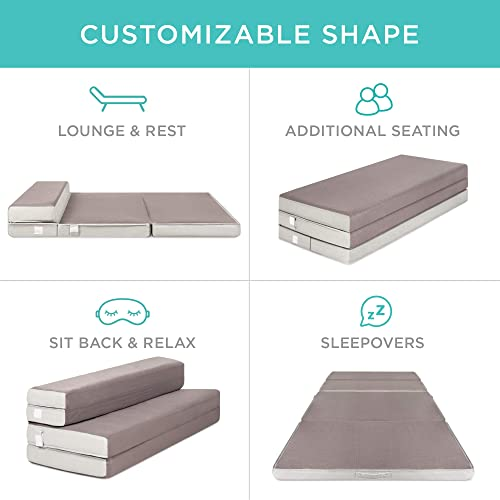 Best Choice Products 4in Thick Folding Portable Queen Mattress Topper w Carry Case, High-Density Foam, Washable Cover