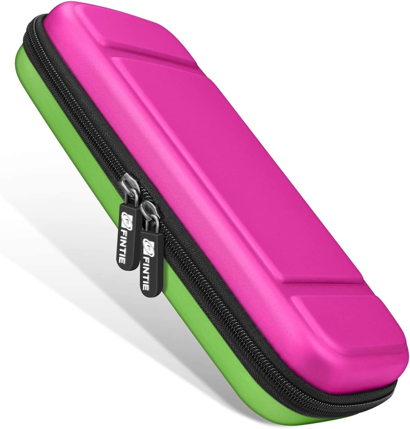 Fintie Carry Case for Nintendo Switch - [Shockproof] Hard Shell Protective Cover Travel Bag w/10 Game Card Slots, Inner Pocket for Nintendo Switch Console Joy-Con & Accessories, Magenta Green