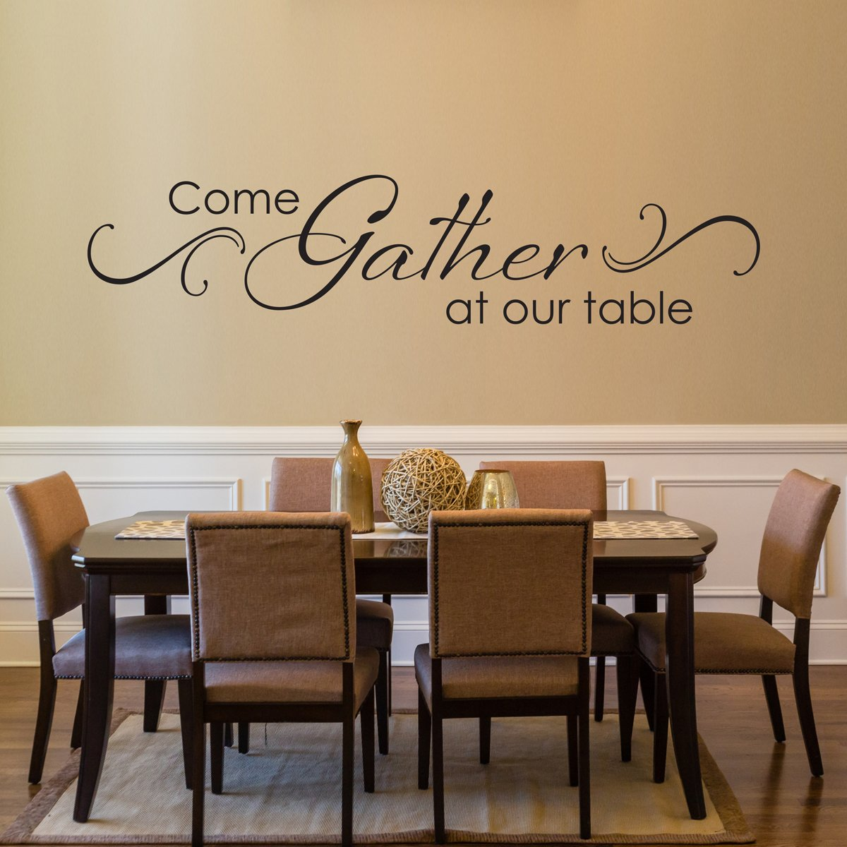 Come Gather at our Table Decal with Scroll design - Dining Room Wall Art - Kitchen Quote Wall Sticker - Dining Room Decor (DE0109)