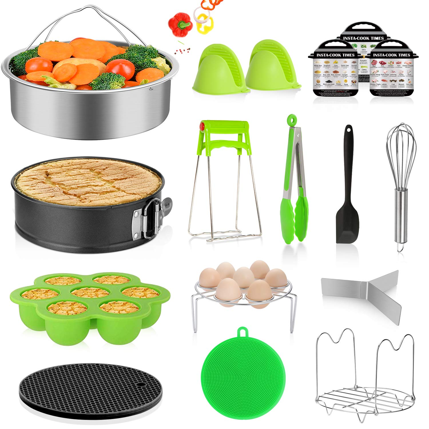 MIBOTE 17pcs Pressure Cooker Accessories Set fits Instant Pot 5,6,8 Qt, Steamer Baskets, Springform Pan, Egg Steamer Rack, Egg Bites Mold, Kitchen Tong, Silicone Pad, Oven Mitts, Cheat Sheet Magnet by MIBOTE