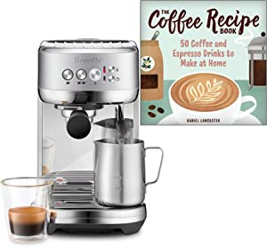 Breville BES500BSS Bambino Plus Espresso Machine Bundle with The Coffee Recipe Book by Daniel Lancaster - Brushed Stainless Steel