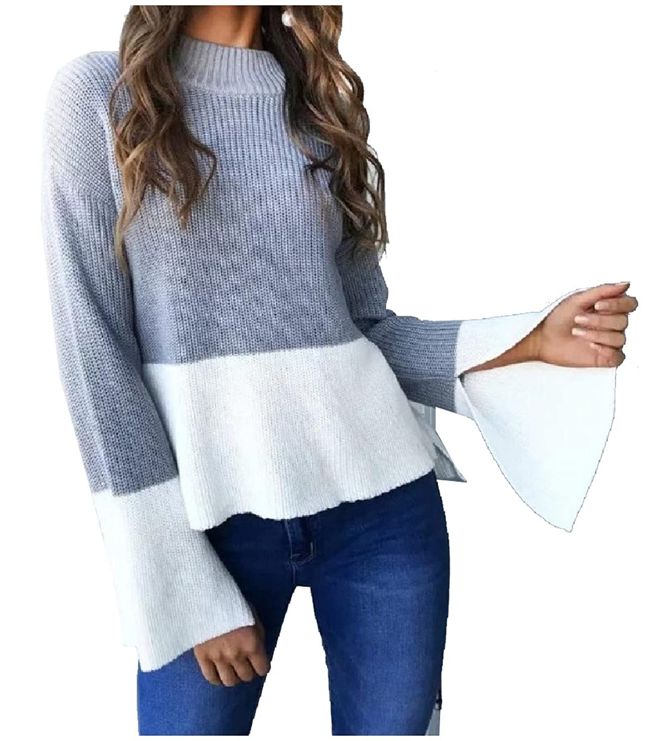 XiaoShop Women Autumn Comfy Long Flared Sleeve Knit Pullover Sweaters