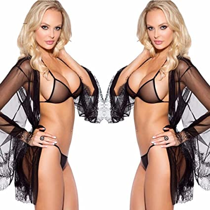 Other Women's Intimates Sexy Womens Lingerie Shirt Bra G String Panties Black Sheer Lace 3pcs Sz S Set Be Novel In Design