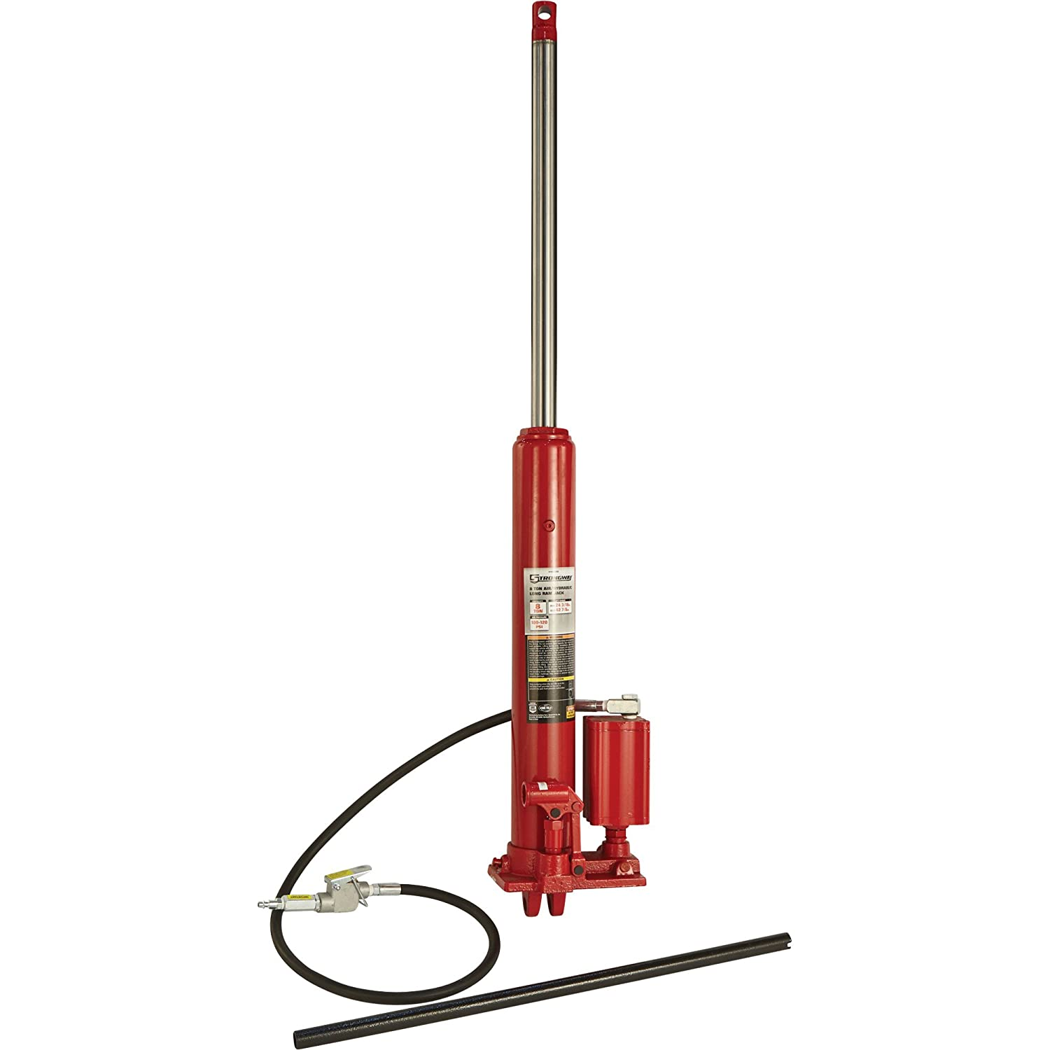 Strongway Air/Hydraulic Long Ram Jack - 8-Ton Capacity, 24 3/16in