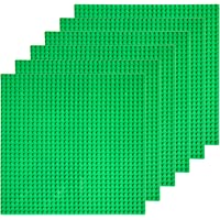 """EKIND 6 PCS Classic Building Baseplate 10"""" x 10"""" Compatible with Lego Brickyard Building Blocks, Perfect for Activity Table or Displaying Compatible Construction Toys (Green)"""