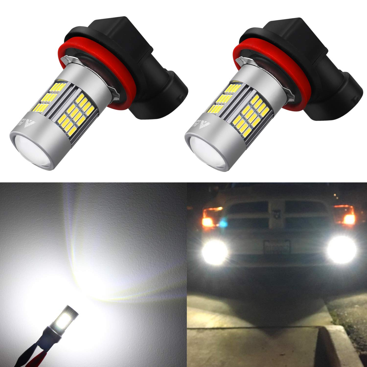 Alla Lighting Super Bright H8 H16 H11 LED Fog Lights Bulbs 4014 54-SMD LED H11 H8 Fog Light Bulb 6000K Xenon White H16 H8 H11 LED Bulbs for Cars Trucks Fog Lights Replacement (Set of 2)