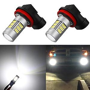 Alla Lighting Super Bright H8 H16 H11 LED Fog Lights Bulbs 4014 54-SMD LED H11 H8 Fog Light Bulb 6000K Xenon White H16 H8 H11 LED Bulbs for Cars Trucks Fog Lights Replacement (Set of 2)