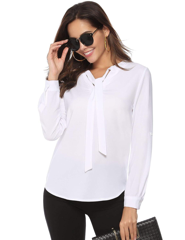 Abollria Womens Casual Chiffon Tops V Neck Bow Tie Long Sleeve Loose Blouse Shirt