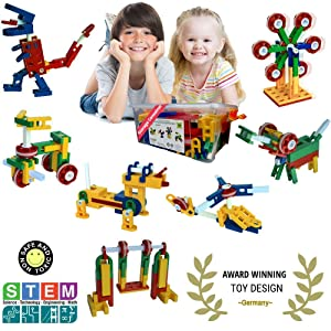 Whirligig STEM Toys for Girls & Boys | Building Blocks for 5 Year Old+ | Creative Construction Educational Engineering Set | 106 Pieces | Best Kids Gift Kit for Ages 5, 6, 7, 8, 9, 10 Yr.