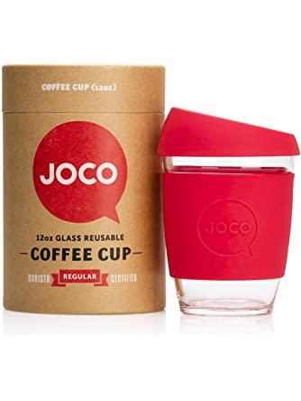 Joco Glass Reusable 12oz Coffee Cup Red