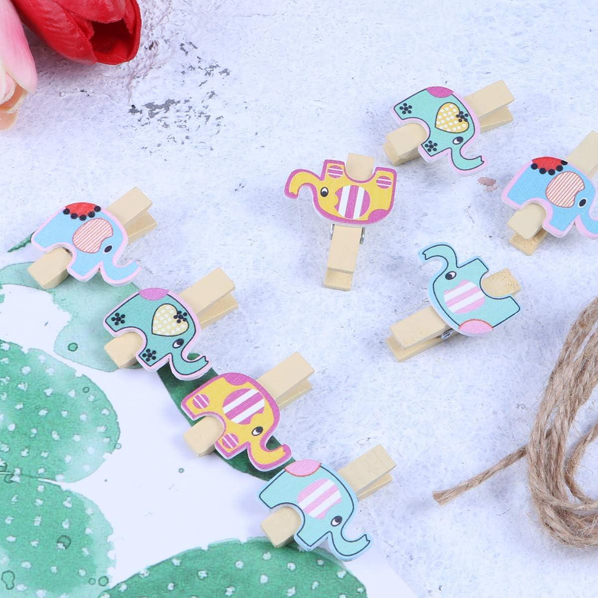 STOBOK Cute Elephant Wooden Photo Clips Mini Wooden Clothespins-40Pcs