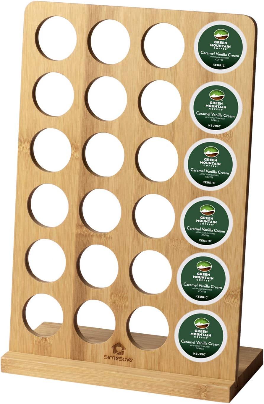 simesove Coffee Pod Holder bamboo,Coffee K-cups Pods Organizer,Coffee Display Rack 24 Pod Storage,Coffee Storage - K Cups Organizer For Counter Top Coffee Pod Holder (24 K-Cups)