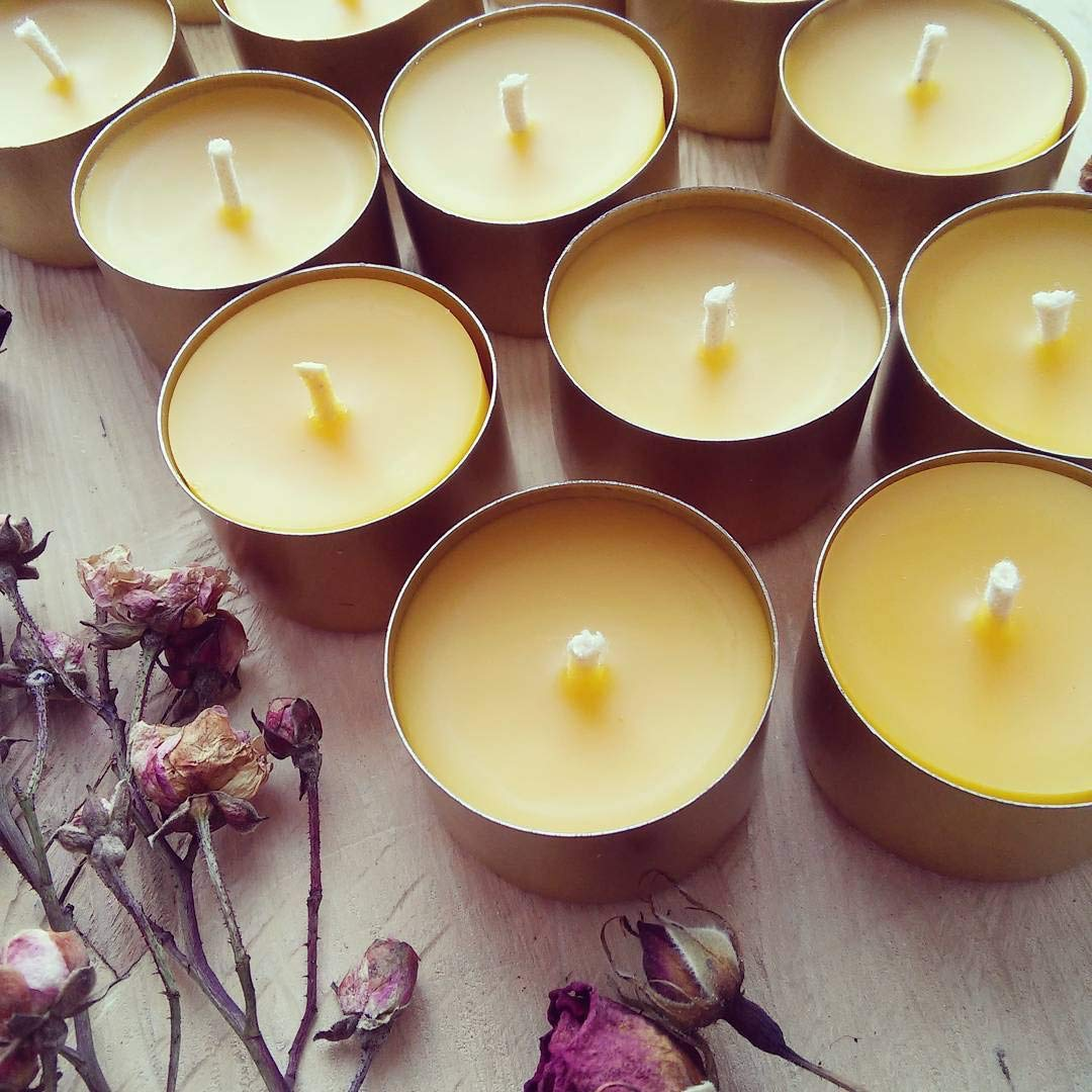UkrEcoGoods Beeswax tealight Candles in Bulk 24 Count with Metal Cup 100% Raw Handmade