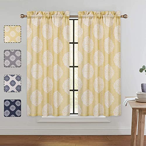 CAROMIO Cafe Curtains 45 Inch Length, Floral Medallion Damask Print Linen Blended Tier Curtains for Kitchen Cafe Bathroom Window Curtains, Yellow