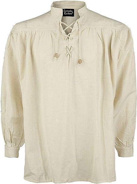 Leonardo Carbone Camisa Medieval de Cuello Alto Hombre Camiseta Crudo, : Amazon.es: Ropa y accesorios