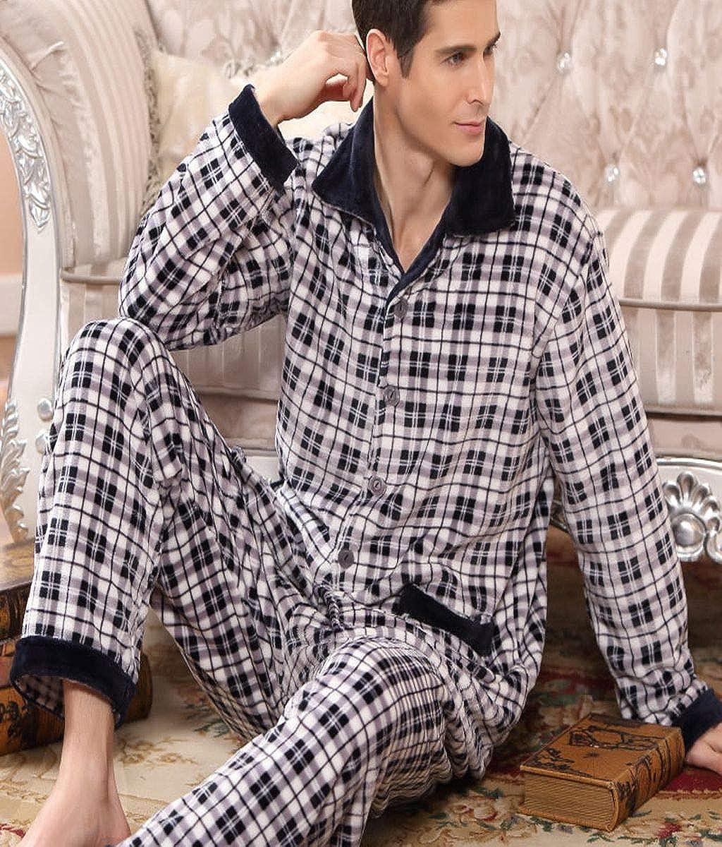 Men Thick Fleece Pajama Sets Luxury Warm Sleepwear Plaid Suits Man Casual Home Clothes