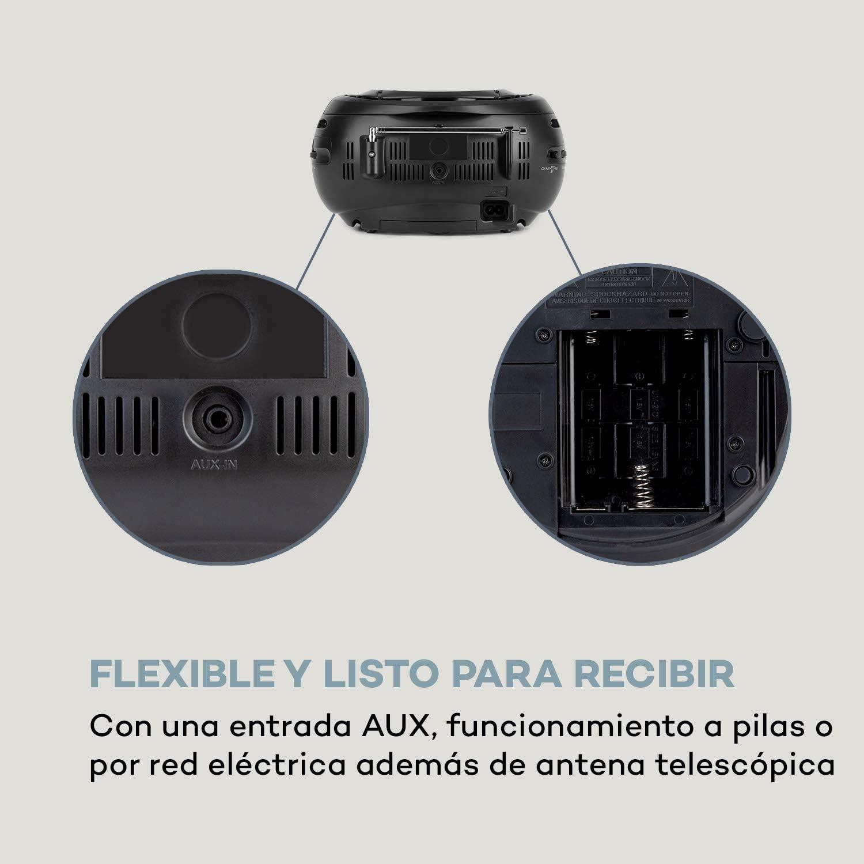 auna Haddaway CD - Minicadena, Reproductor de CD, Conexión Bluetooth, Sintonizador de Radio FM, Entrada AUX, Pantalla LED, Funcionamiento con ...