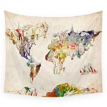 society6 world map wall tapestry small 51
