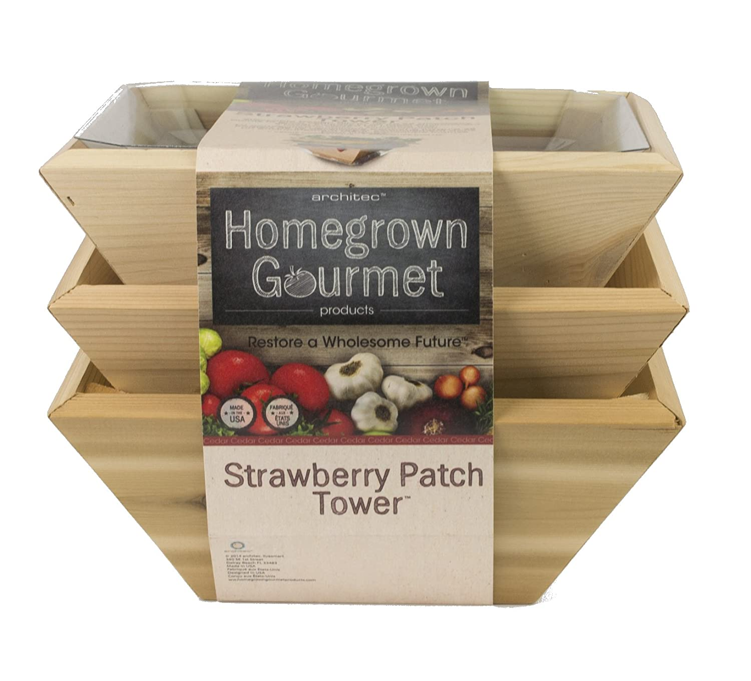 Architec Homegrown Gourmet Strawberry Patch Tower Cedar Planter Box, Set of 3