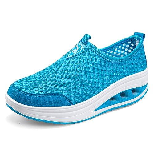 WOJIAO Zapatillas Para Correr de Cerano Para Mujer Zapatos de Agua de Secado Rápido Malla Con