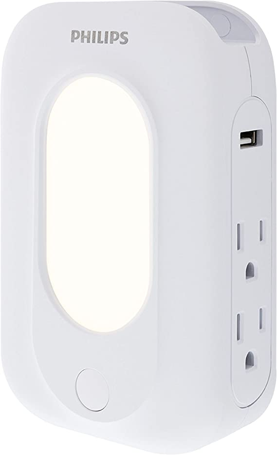 Automatic Shutdown Technology GE Pro 5 Grounded Outlet Wall Tap Surge Protector 860 Joule Surge Protection Side-Access Outlets White 2.4A Dual USB Ports 2 USB Ports 39670