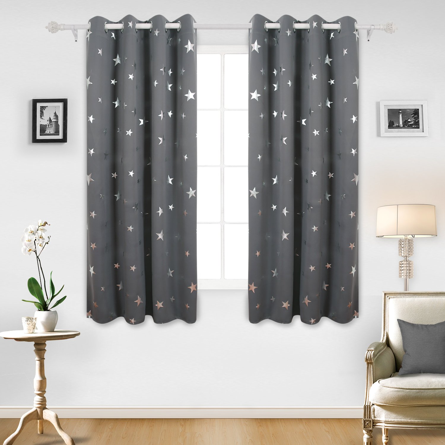 deconovo super soft stars foil printed thermal insulated ready made curtains eyelet blackout curtains for bedroom